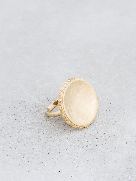 gold convex ring orb texture statement jewelry soft gold co dianna gendron metalsmith metalwork