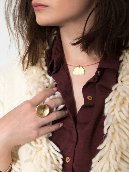 dianna gendron soft gold co fall winter collection gold statement jewelry dead byrd vintage wool shag coat