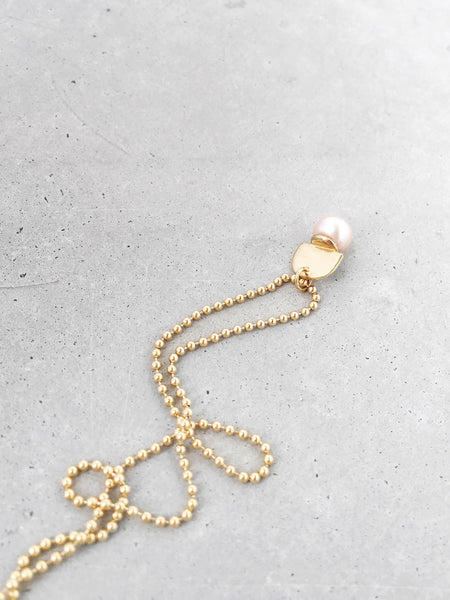 peach button pearl arch pendant gold necklace softgoldco modern jewelry