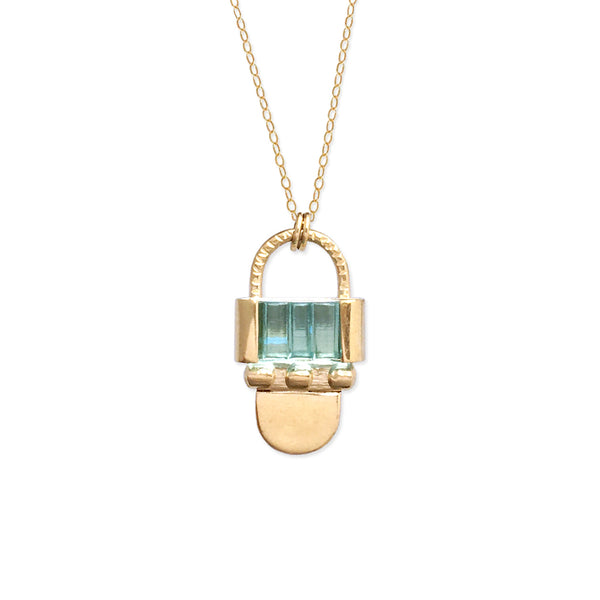 art deco sculptural arch statement necklace gold vermeil aqua blue scalloped pressed glass stone soft gold co
