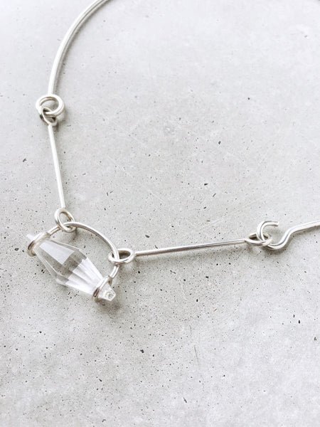 softgoldco quartz connection articulated silver choker