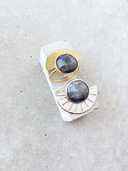 denim blue Labradorite half moon statement ring gold silver rose cut softgoldco