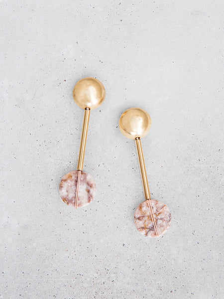domed orb drop marble statement earrings soft gold co dianna gendron metalwork jewelry