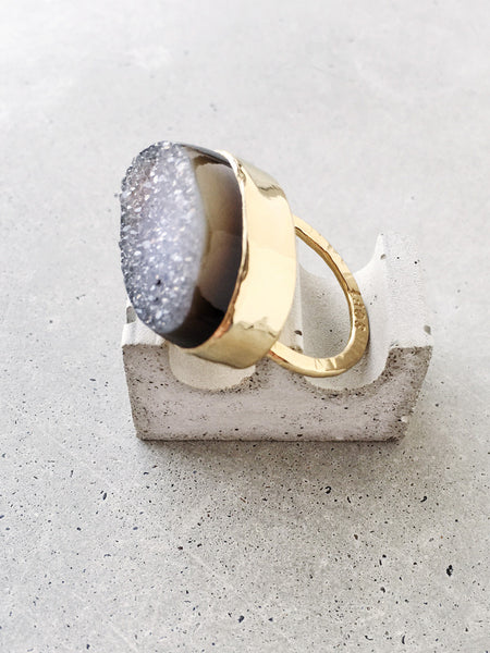 softgoldco drusy statement ring editorial concrete sparkly gold