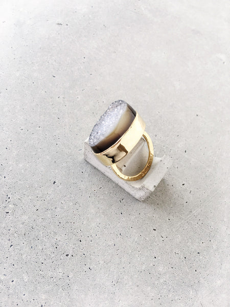 softgoldco drusy statement ring gold