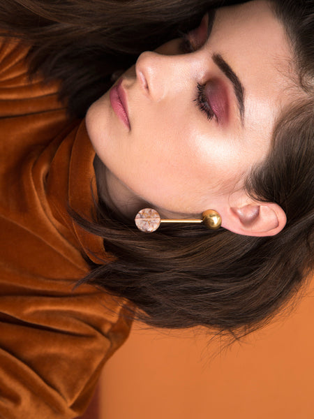 domed orb drop marble statement earrings soft gold co dianna gendron metalwork jewelry fall winter lookbook dead byrd vintage velvet orange moody makeup strong brow