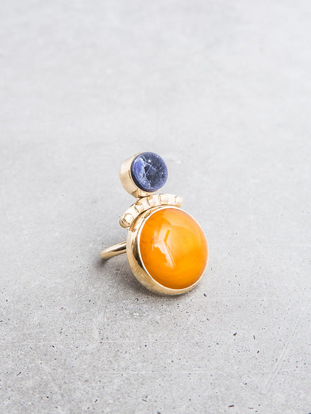 double stone idol ring gold statement jewelry orange blue sculptural art jewelry by soft gold co metalwork by dianna gendron