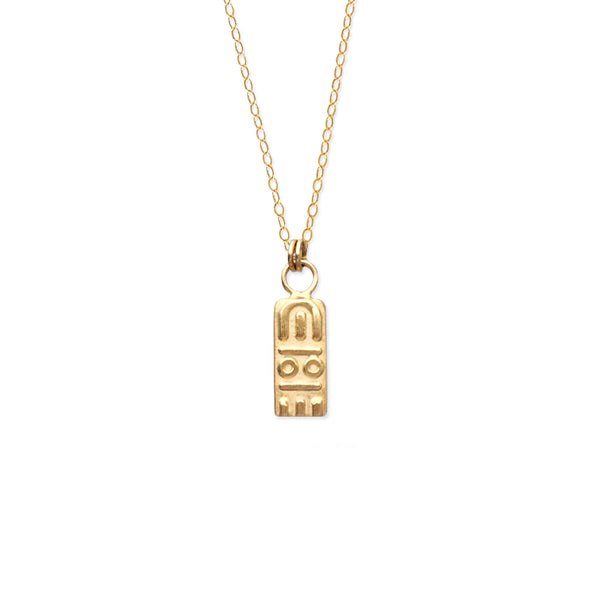 dainty gold pendant minimal jewelry glyph necklace