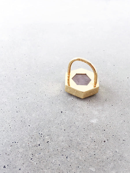 Rose Quartz Hexagon Statement Ring
