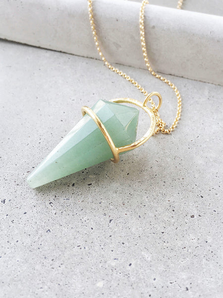 green aventurine softgoldco jewelry long pendulum statement necklace