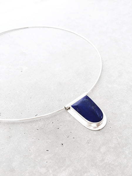 Lapis Statement Choker Necklace - sterling silver arch | modern metalwork jewelry by Soft Gold Co.
