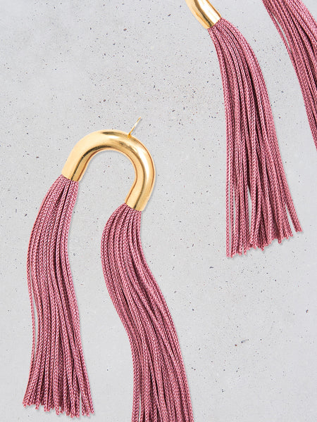 Long Arch Double Tassel Earrings