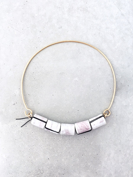 Marbled Ceramic Beaded Choker | silver or 14k gold vermeil | art jewelry by Soft Gold Co.