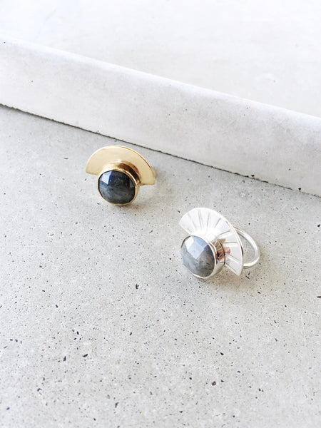 Labradorite half moon statement ring gold silver rose cut softgoldco
