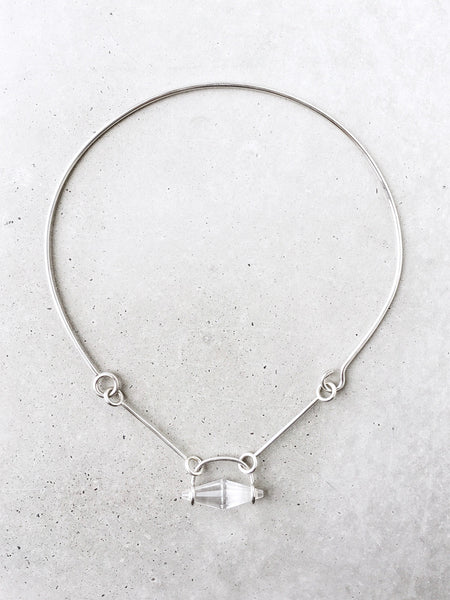 softgoldco suspended crystal quartz articulated choker full
