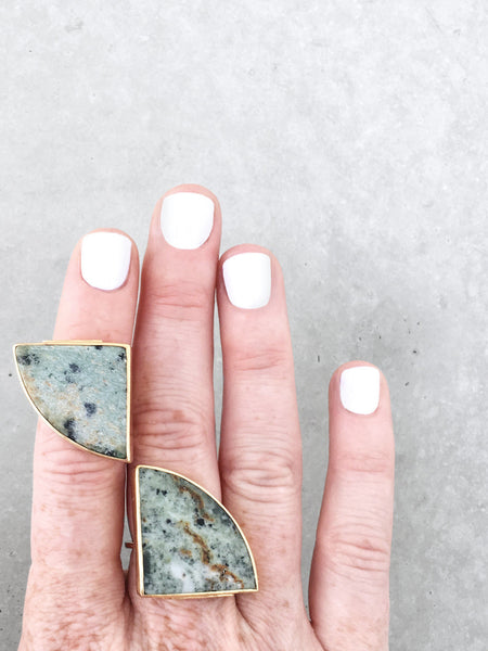 Marble Radius Statement Rings | 14k gold vermeil, pale green | metalwork jewelry by Soft Gold Co.