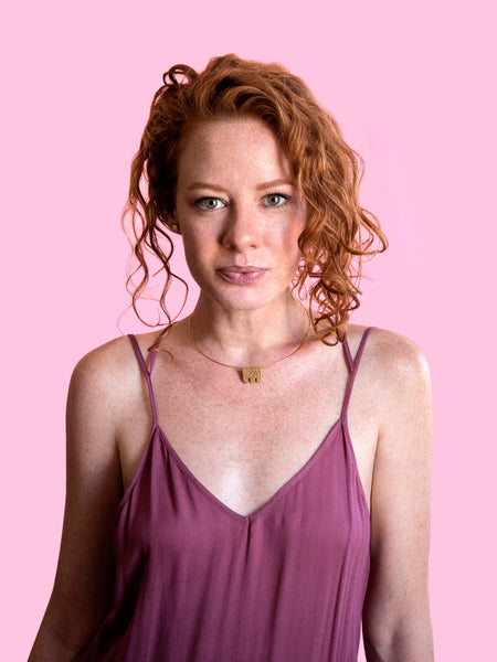 softgoldco modern art jewelry gold choker pink redhead model fashion