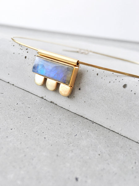 moonstone blue flash gold jewelry modern bezel arch tube necklace