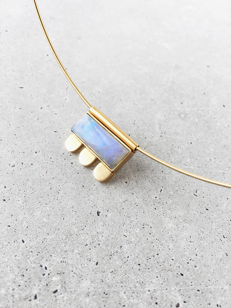 gold modern art jewelry moonstone pendant choker softgoldco
