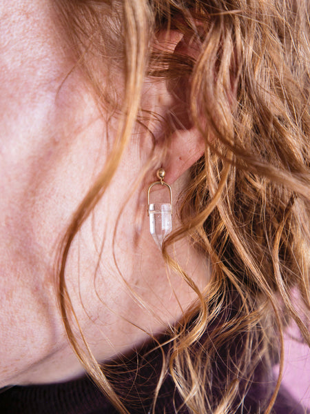 crystal arch ball post earrings quartz point redhead soft gold co