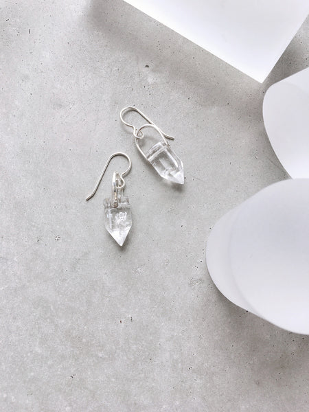 crystal point arch earrings sterling silver earwire hook dangle concrete jewelry lookbook soft gold co