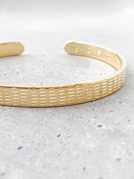 gold plated brass line design cuff bracelet softgoldco benchmark concrete