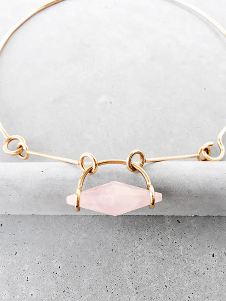 14k gold vermeil rose quartz choker detail soft gold co
