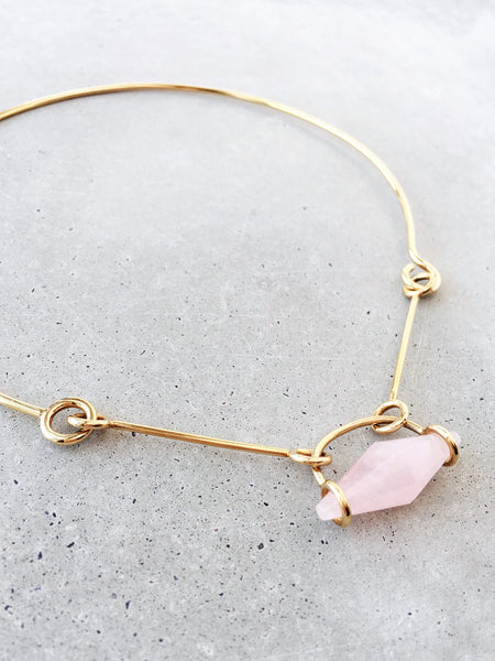 soft gold co rose quartz suspension choker latch link metalwork art jewelry