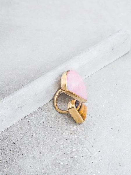Tiger Eye + Pink Opal Double Stone Ring / OOAK