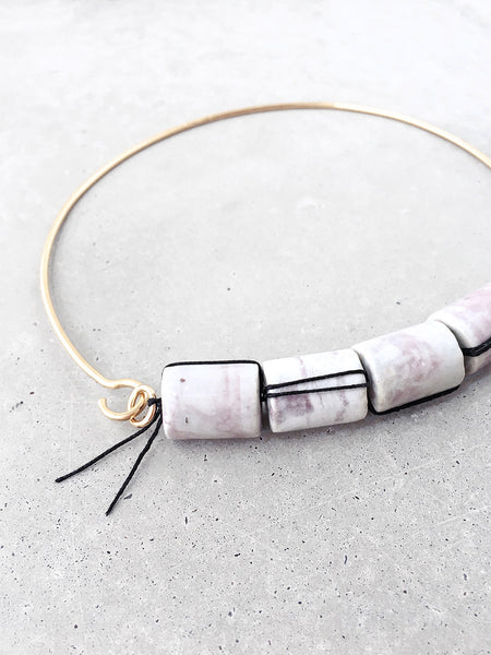 Marbled Ceramic Beaded Choker | woven silk bead detail | art jewelry by Soft Gold Co.