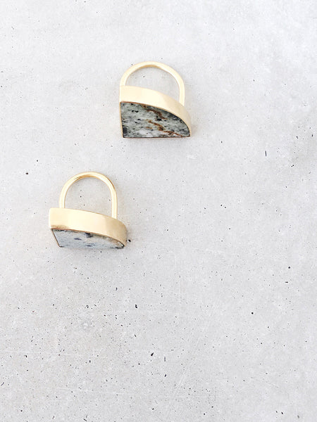 Marble Radius Statement Rings | tall bezel, 14k gold vermeil | metalwork jewelry by Soft Gold Co.