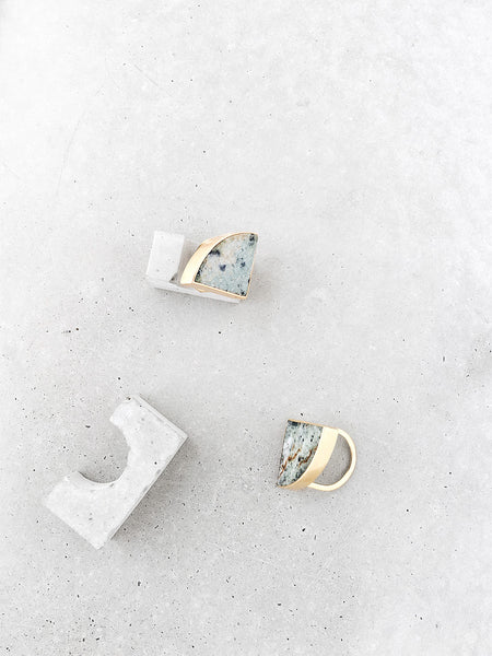Marble Radius Statement Rings | 14k gold vermeil concrete display | metalwork jewelry by Soft Gold Co.