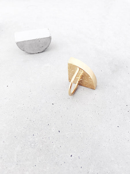 Marble Radius Statement Rings | 14k gold vermeil confetti backplate | metalwork jewelry by Soft Gold Co.