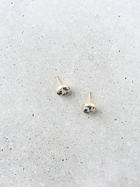 black white cream dalmatian jasper stud earrings softgoldco