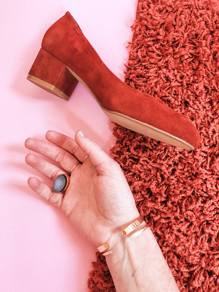 soft gold co druzy cocktail ring suede block heel editorial shot