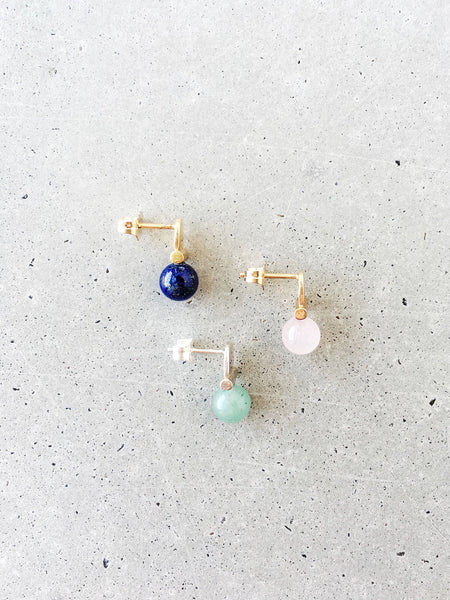 stoned arch studs in gold or silver rose quartz lapis lazuli green gemstone stud earrings softgoldco