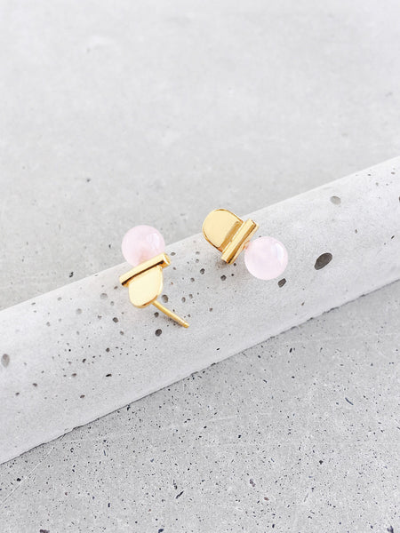 rose quartz stoned arch stud earrings softgoldco modern jewelry