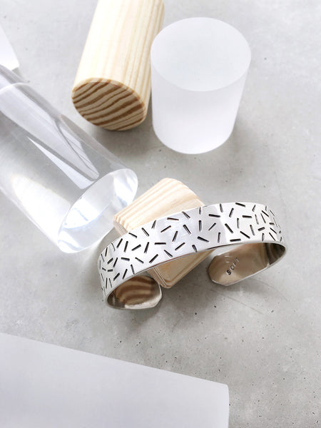 softgoldco confetti wide cuff bracelet sterling silver clear pillars lookbook memphis pattern