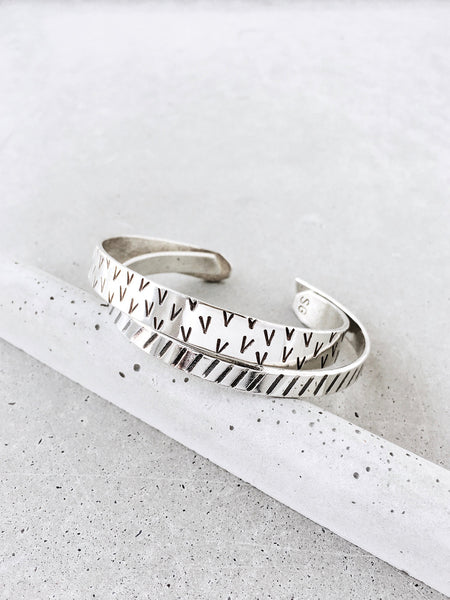 modern metalwork jewelry silver pattern stacking bracelets softgoldco