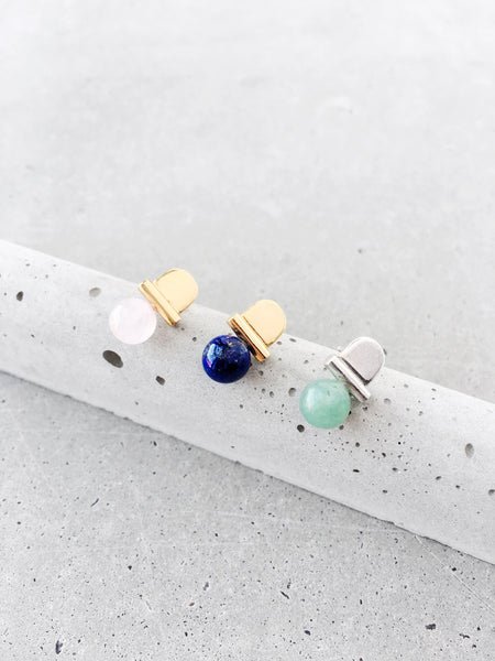 stoned arch studs in gold or silver rose quartz lapis lazuli green gemstone earrings softgoldco