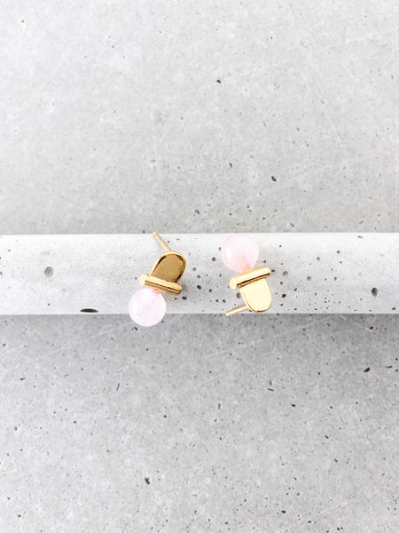 rose quartz stoned gold arch studs softgoldco modern jewelry concrete