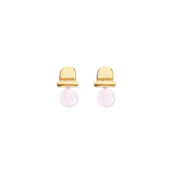 soft gold co stoned arch earrings 14k gold pale pink rose quartz on white background