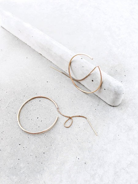 Threaded Hoop Earrings | 14k gold filled for sterling silver | concrete editorial | modern minimal jewelry by Soft Gold Co.