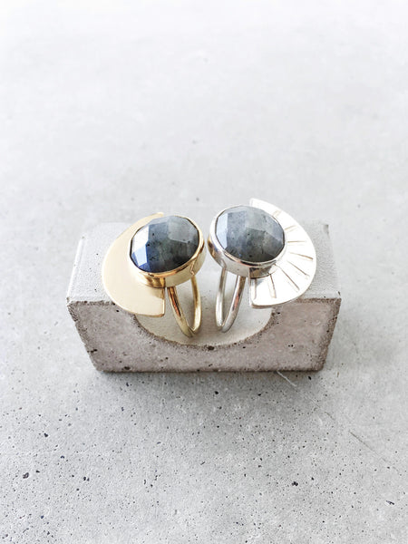 metalwork jewelry modern statement ring soft gold co half moon arch ring