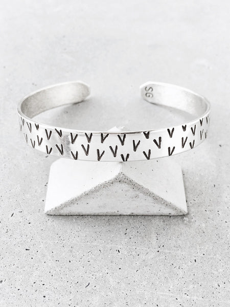 tribal V pattern cuff bracelet silver concrete triangle soft gold co