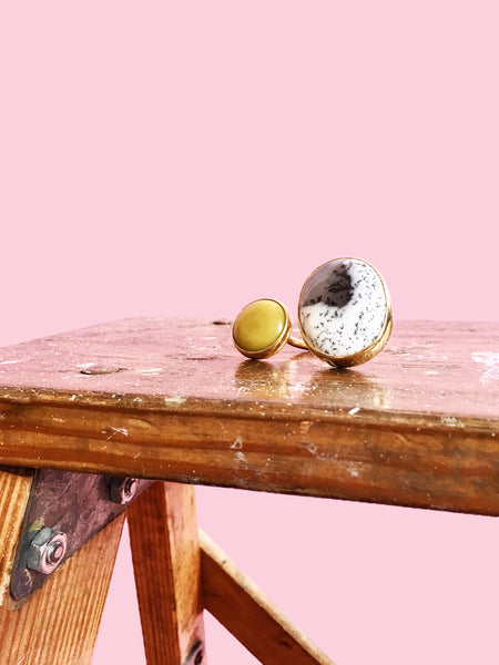 Yolk Double Stone Ring / OOAK