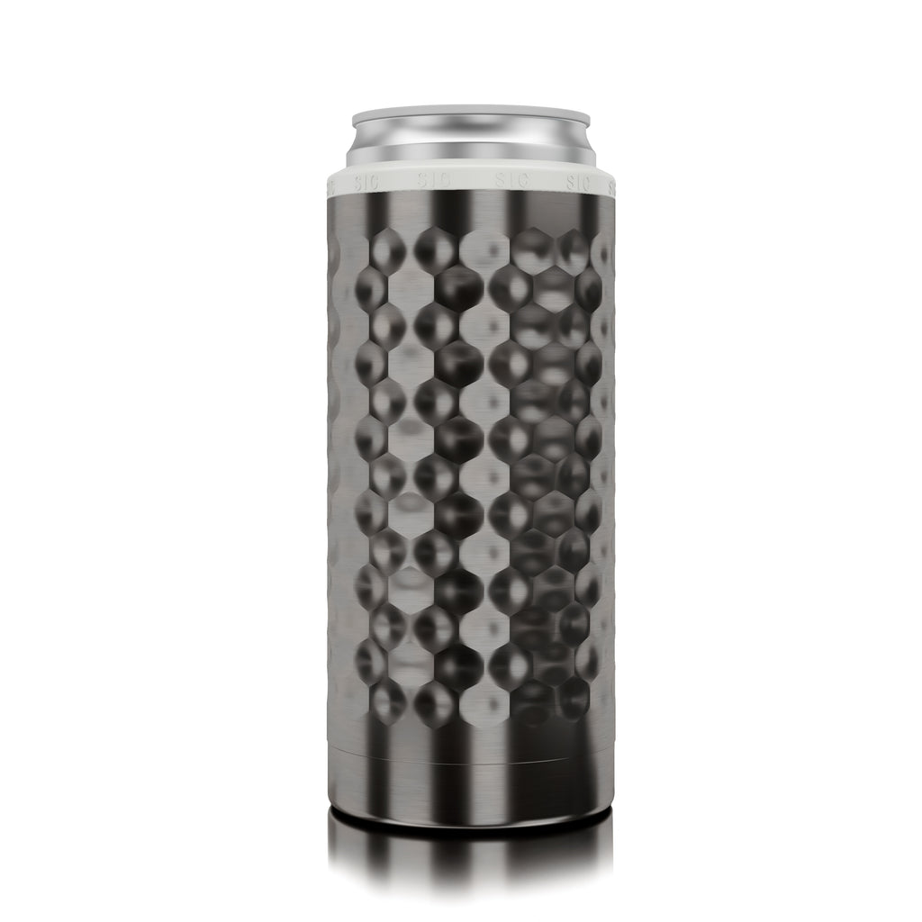Slim Can Koozie Hammered Gunmetal