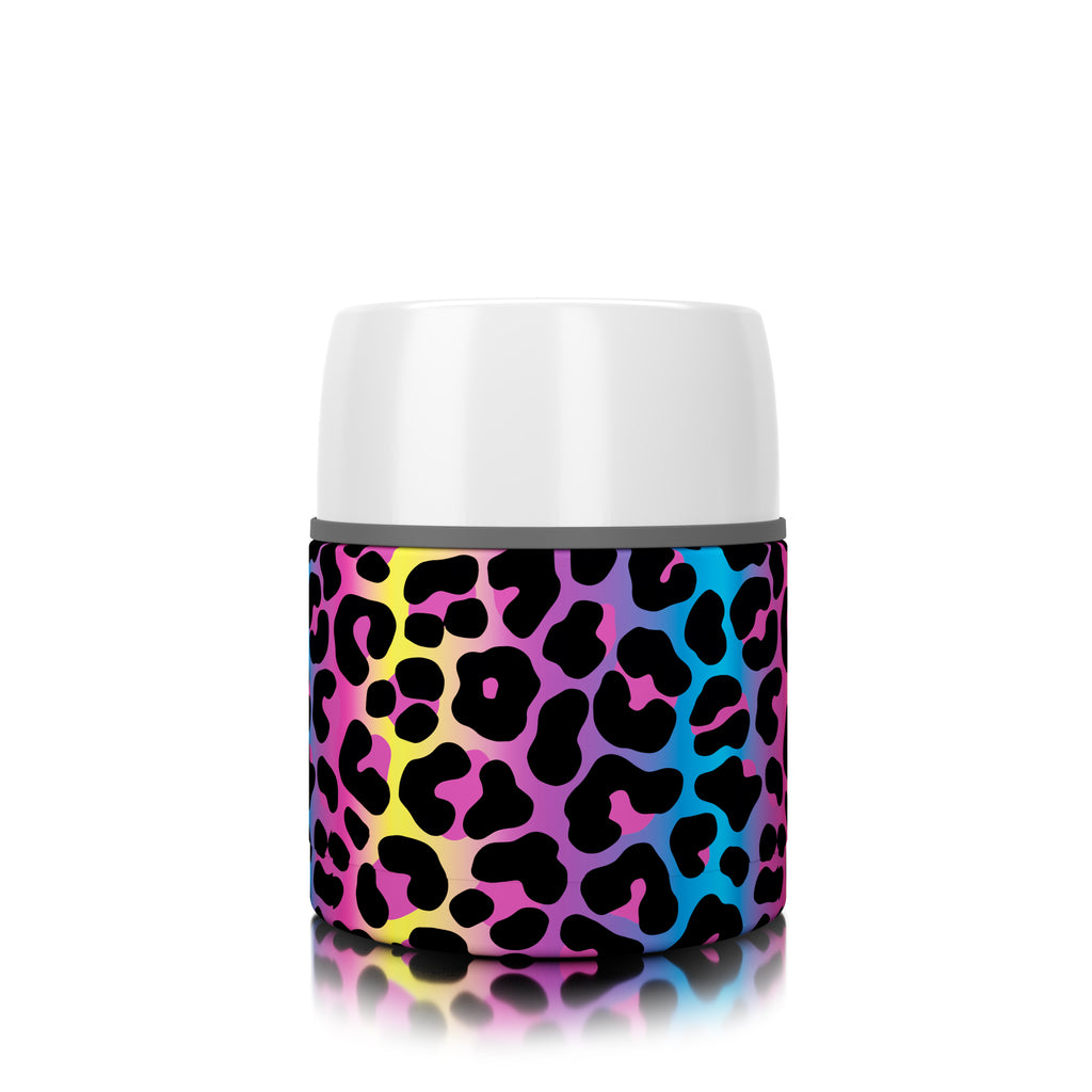 17 oz. Neon Leopard Food Insulator (12 pack)
