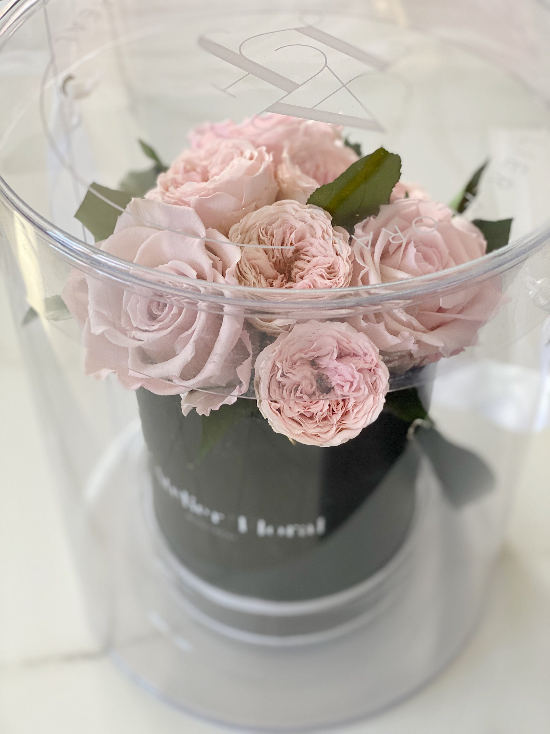 Mini Bouquet of Eternal Roses in Mix Pink (Black Box)