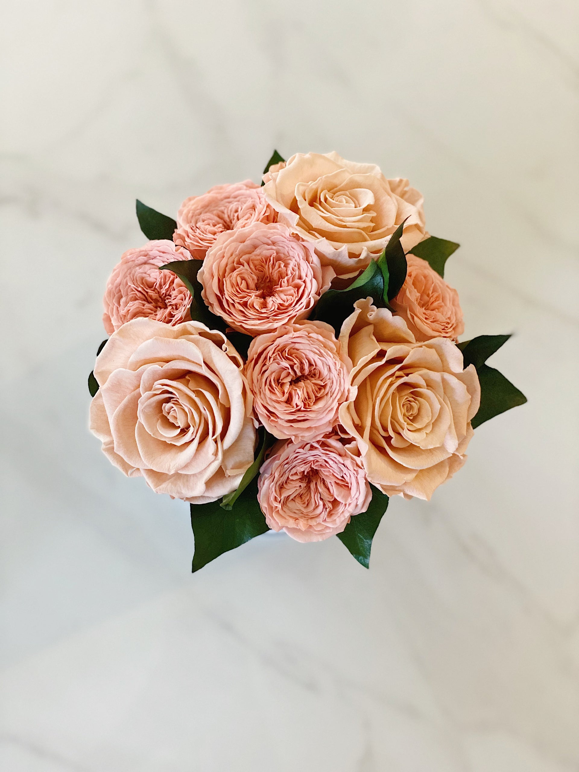 Mini Bouquet of Eternal Roses in Mix Peach (Grey Box)